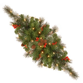 30-inch Crestwood Spruce Red Berries Silver Bristle Cones Battery Operated Centerpiece