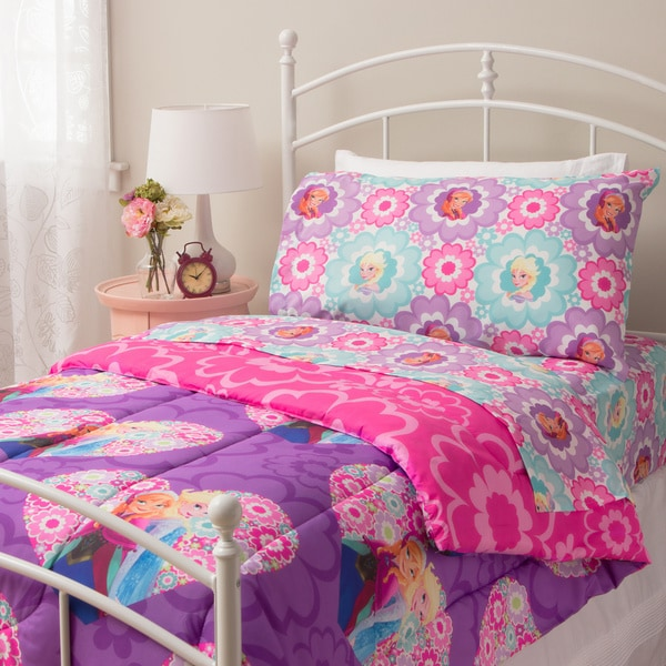 shop disney frozen floral twin 4 piece bed in a bag set free shipping on orders over 45. Black Bedroom Furniture Sets. Home Design Ideas