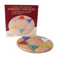 12-inch Wood Chinese Checkers Set with Marbles