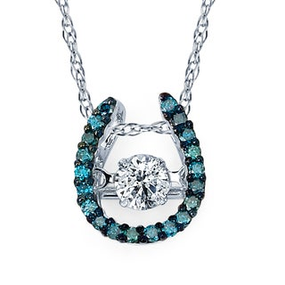 Boston Bay Diamonds Brilliance in Motion 14k White Gold 1/3ct TDW Blue and White Diamond Horseshoe Necklace (I-J, I1-I2)