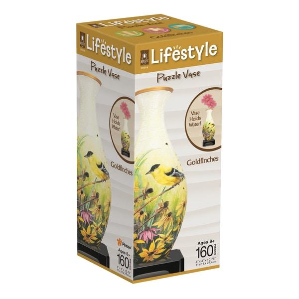 Lifestyle 3D Puzzle Vase - Goldfinches: 160 Pcs