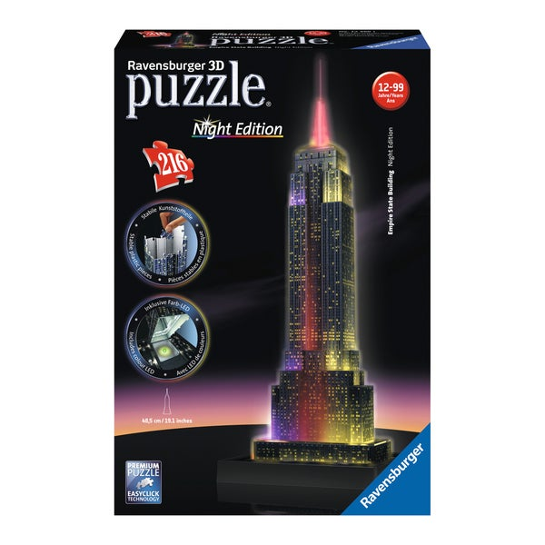 3D Puzzle - Empire State Building - Night Edition: 216 Pcs