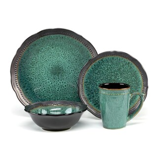 Jenna Green Collection Stoneware 16-Piece Dinnerware Set