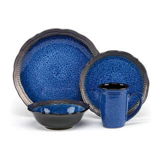 Jenna Blue Collection Stoneware 16-Piece Dinnerware Set