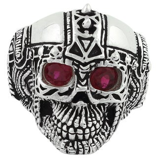 Sterling Silver Barbarian Warlord Skull Ring with Garnet Cubic Zirconia Eyes