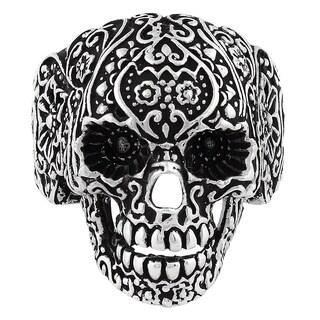 Sterling Silver Dia De Muertos Floral Skull Ring