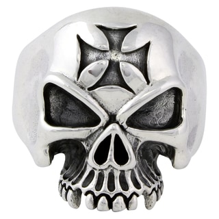 Sterling Silver Ride or Die Iron Cross Skull Ring