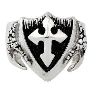 Sterling Silver Dragon Shield Cross Ring