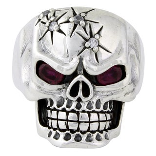 Sterling Silver Four Shots of Wisdom Garnet Cubic Zirconia Eyes Skull Ring