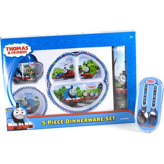 Thomas the Tank Engine 5-piece Dinnerware Set with Spoon and Fork Bundle