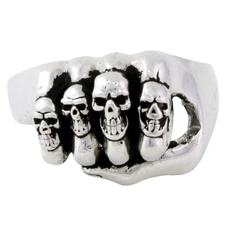 HellFire Sterling Silver Iron Fist of Punishment Ring