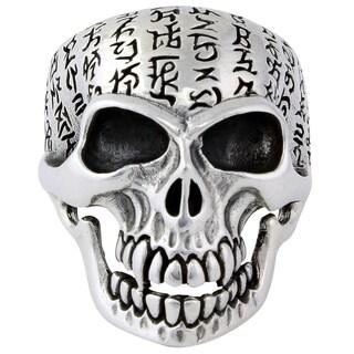 HellFire Sterling Silver Genghis Khan Skull Ring