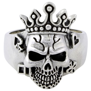 HellFire Sterling Silver Joker King Skull Ring