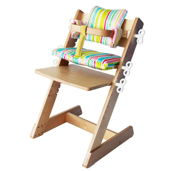 Kid 2 Youth Ergonomic Adjustable Wooden High Chair with Striped Vinyl Pads