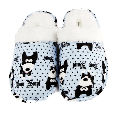 Leisureland Women's Cotton Cozy Bow Wow! Dog Slippers