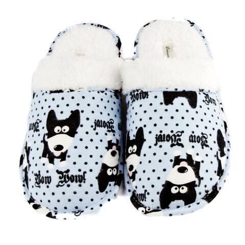 Leisureland Womens Cotton Cozy Bow Wow! Dog Slippers