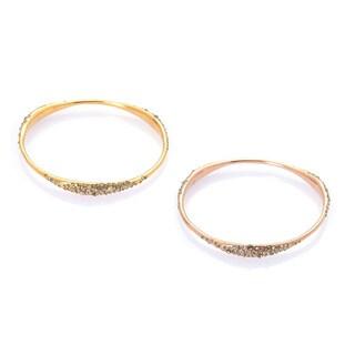 De Buman 18k Gold Plated Crystal Cuff Bracelet