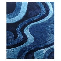 Dream Blue Polyester Rug - 5' x 7'3