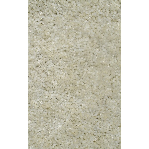Super Shag White Polyester Rug - 7'3 x 10'