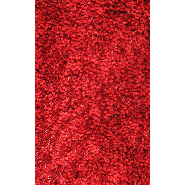 Super Shag Red Polyester Rug - 7'3 x 10'