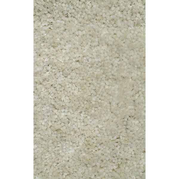 Super Shag White Polyester Rug - 5' x 7'3