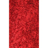 Super Shag Red Polyester Rug - 2' x 8'