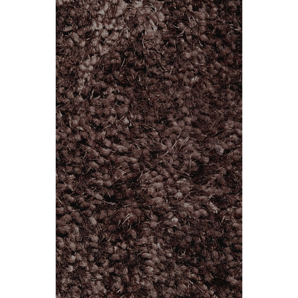 Super Shag Brown Polyester Rug - 2' x 8'