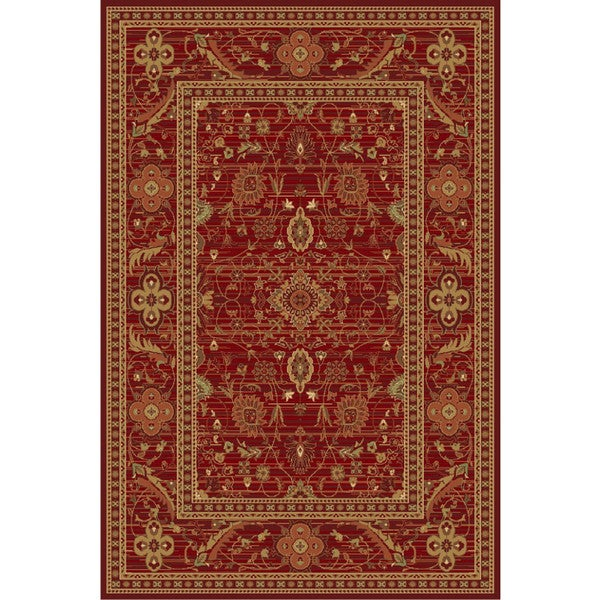Ziggy Collection Red Ornate Rug - 5' x 8'