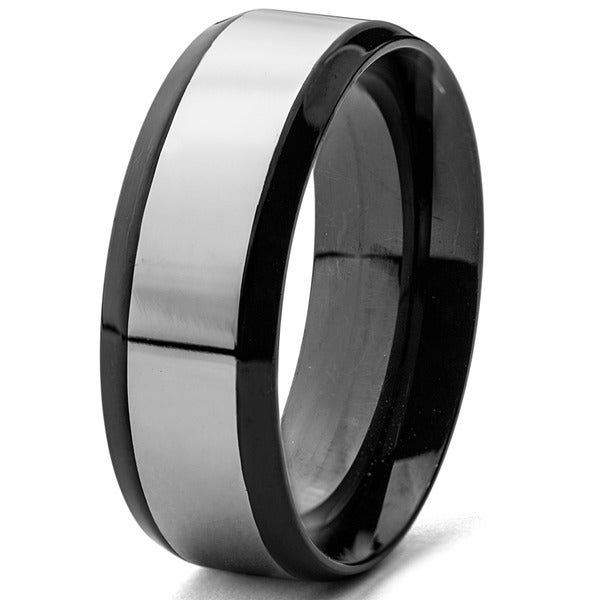 Blackplated Stainless Steel Two-tone Men's Band Ring (8 mm)