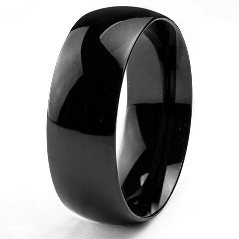 Black Plated Stainless Steel Domed Wedding Band Ring (8mm)