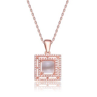 Collette Z Rose Goldplated Sterling Silver Cubic Zirconia Square Necklace