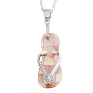 Fremada Sterling Silver Mother of Pearl Cubic Zirconia Flip Flop Necklace