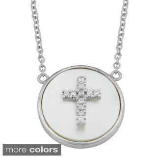 Fremada Sterling Silver Mother of Pearl Cubic Zirconia Cross Necklace
