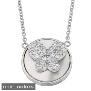 Fremada Sterling Silver Mother of Pearl Cubic Zirconia Butterfly Necklace