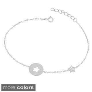 Fremada Gold Over Sterling Silver Cubic Zirconia Cut-out Star Adjustable Bracelet
