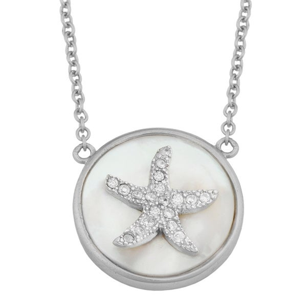 Fremada Sterling Silver Mother of Pearl Cubic Zirconia Star Necklace
