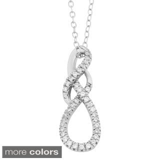 Fremada Gold Over Sterling Silver Cubic Zirconia Fancy Infinity Pendant Necklace