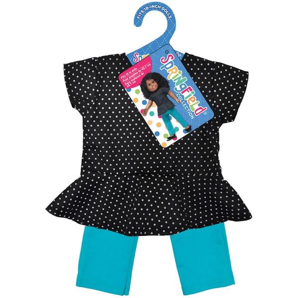 Springfield Collection Peplum Top & Pant-Black Polka Dot Top And Teal Pants