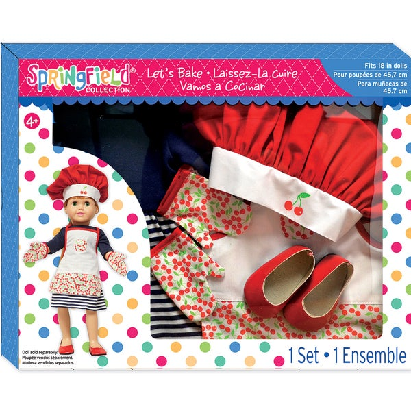 Springfield Collection Let's Bake Gift Set-Blue Dress, Red Hat And White Apron