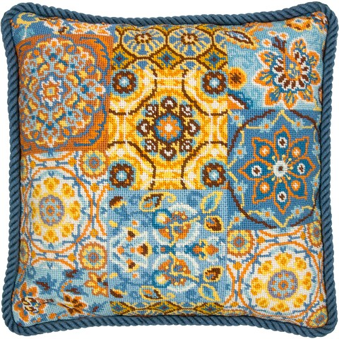 "Patterns On Blue Needlepoint Kit-14""X14"" Stitched In Wool"