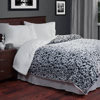 Windsor Home Soft Plush Botanical Print Blanket with Sherpa Backing