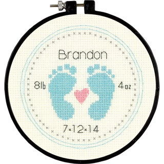 """Learn-A-Craft Baby Footprints Counted Cross Stitch Kit-6"""" Round 14 Count"""