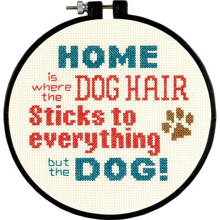"Stitch Wits Pet Hair Mini Counted Cross Stitch Kit-6"" Round 14 Count