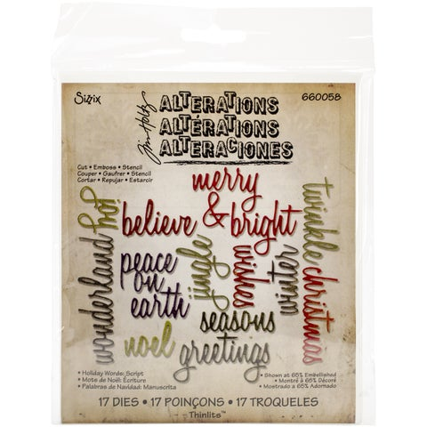 Sizzix Thinlits Dies 17/Pkg By Tim Holtz-Script Holiday Words