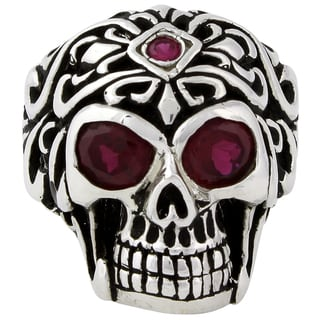Sterling Silver Regal Rogue Garnet Cubic Zirconia Eyes Skull Ring