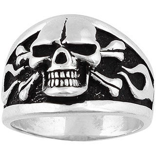 Sterling Silver Flaming Danger Skull Ring