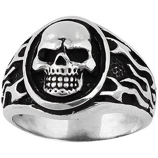 Sterling Silver Flaming Medallion Skull Ring