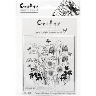 """Crafty Individuals Unmounted Rubber Stamp 4.75""""X7"""" Pkg-Spring Flower Garden"""