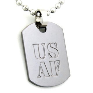 US Air Force Dog Tag Gunmetal Necklace