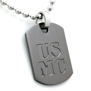 US Marines Dog Tag Gunmetal Necklace